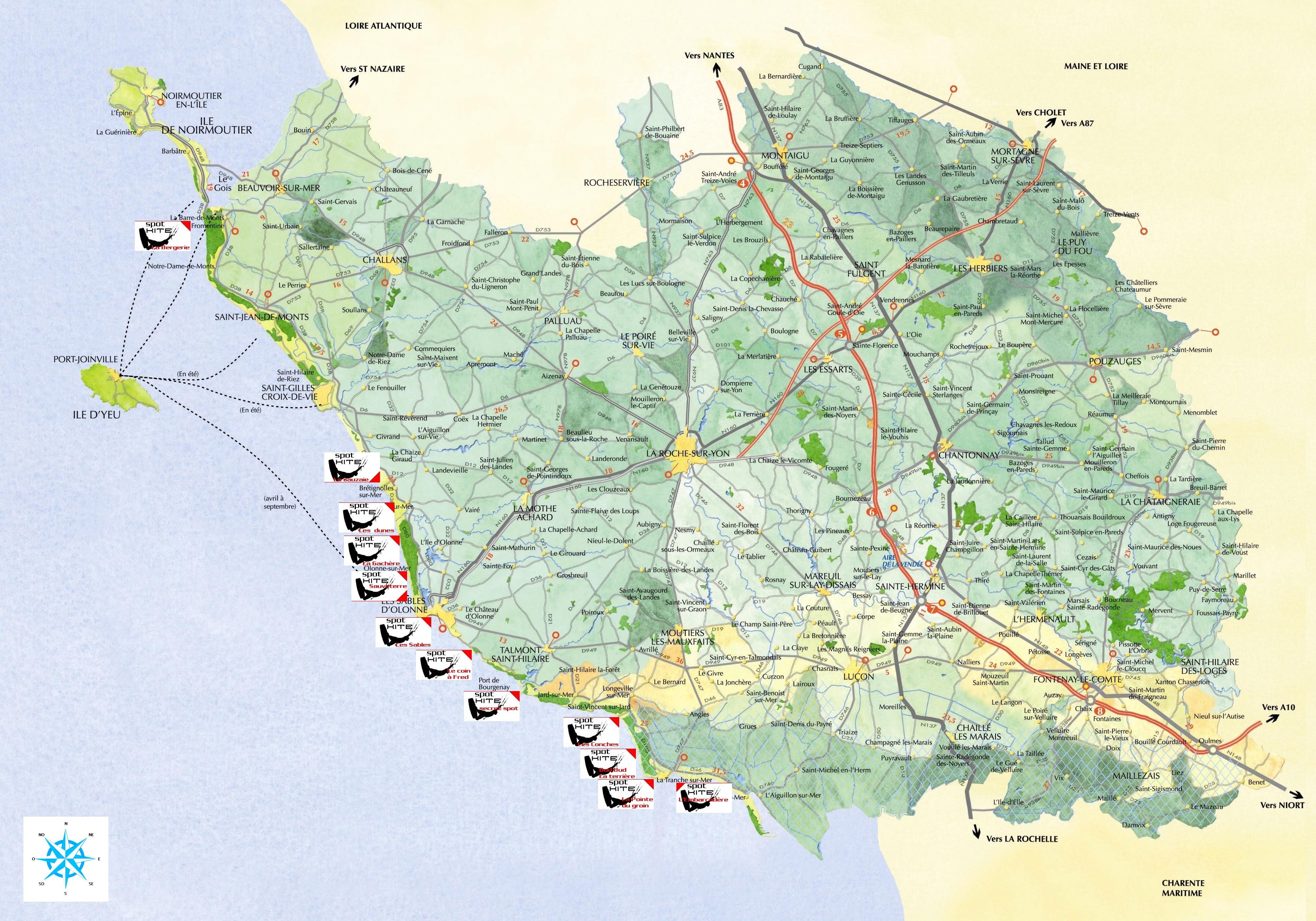 Carte Vendee Routiere.Carte Detaillee De La Vendee Vacances Arts Guides Voyages